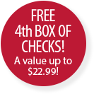Free 4th box of Checks! A value up to $22.99!